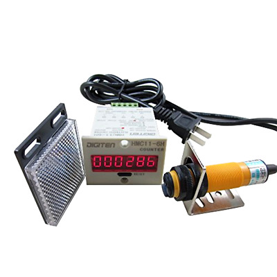 DIGITEN 0-999999 Digital LED Counter +PhotoElectric Switch Sensor +Reflector Aut