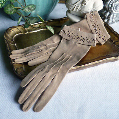 Antique Child's Pair of Kid Leather Gloves Decorative Pierced Cuff Light Brown