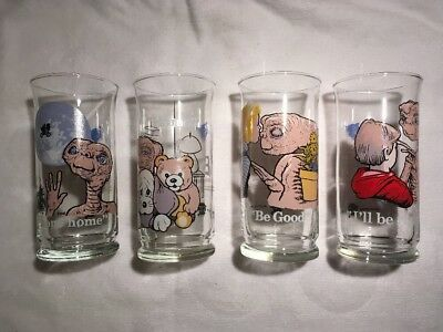 1982 PIZZA HUT E.T. Limited Collector series Glasses ET Lot of 4 tumblers