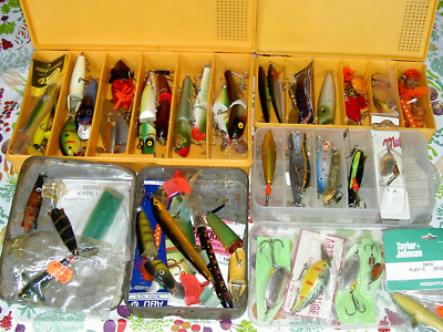 Large Collection (60+) of new and old pike/salmon/trout sea lures and spinners.