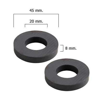 Wolfpack 5411110 Lot de 2 aimants ferrite en forme d'anneau 45 x 20 x 8 mm