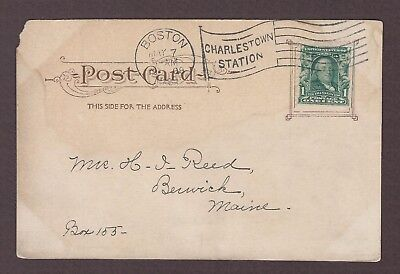 mjstampshobby 1908 US Post Card From Boston Vintage Used (Lot4983)