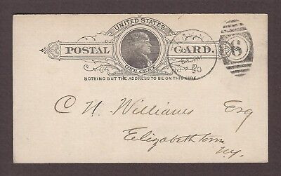mjstampshobby 1890 US Postal Card Famous United National Bank Vintage Used
