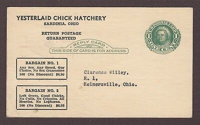 mjstampshobby 1947 US Postal Card Baby Chicks Vintage Used (Lot5000)