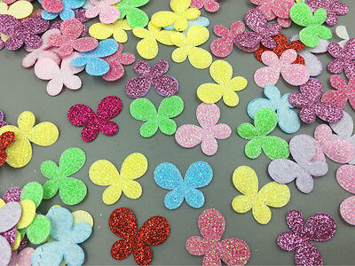 100pcs Mixed Plaid Sequins butterfly Felt Appliques crafts Sewing 25mm