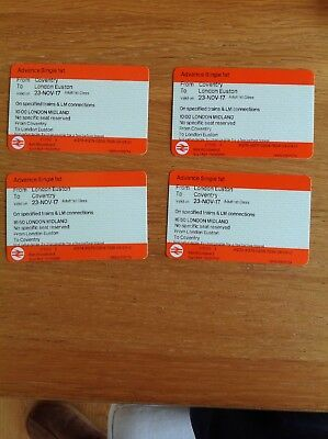 Coventry to London Euston 1st class tickets. Qty 2. For Travel on 23rd November.