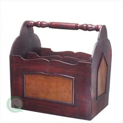 Vintiquewise(TM) Handcrafted Decorative Wooden Magazine Rack with Handle