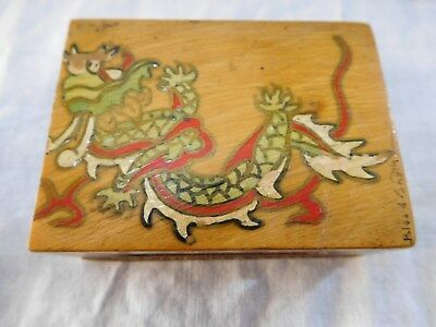 Antique Boxwood Hand Painted And Signed Matchbox Cover