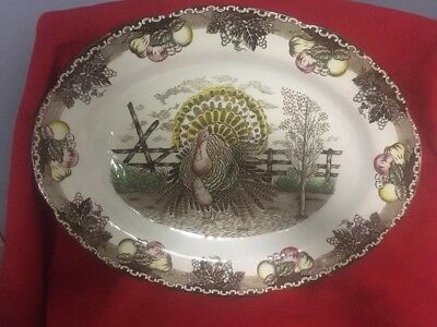 """Vintage King Tom Turkey Platter """"An American Tradition""""Hand Decorated"""