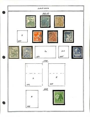 [OP3299] Japan lot of stamps on 12 pages - see photos in description