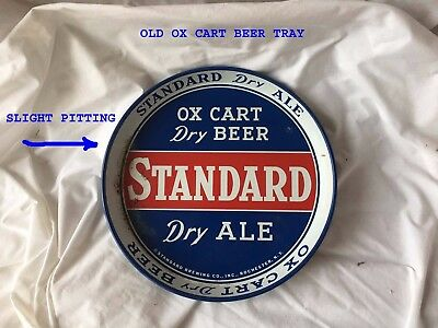 Vintage Standard Dry Ale Ox Cart Dry Beer 12 I' Round Metal Tray Rochester, ny