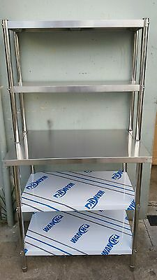 New Stainless Steel Bench with Over-shelving 1500 x 600 x 900 x 300 x 780 mm