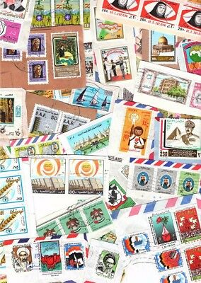 MIDDLE EAST kiloware / stamp mixture. Good variation, single paper, high values