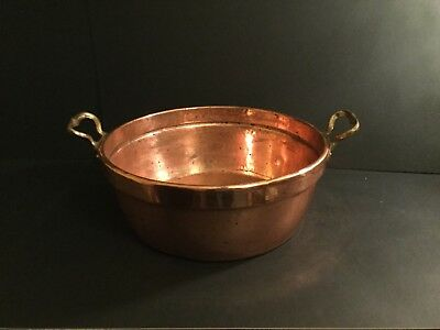Large Copper Jam Pan/ Pot Brass Handles