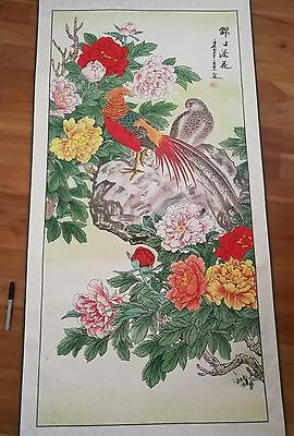 Chinese oriental scroll painting exotic bird feathers flowers colourful