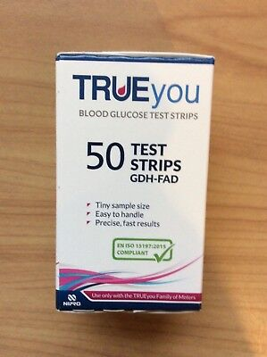 True You Blood Glucose Test Strips, 50, New Sealed Box. Expiry Date 2019.