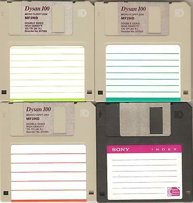 """4 – HD 1.44 MB Floppy Diskettes (disks) 3.5"""" – 3 ½"""" used - Sony Dysan -formatted"""