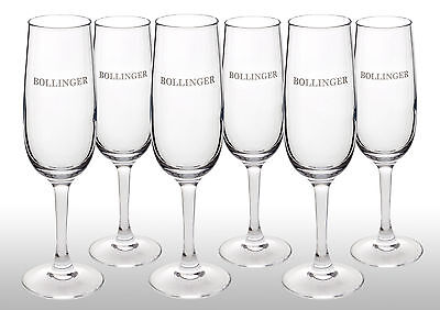 Bollinger Champagne Flutes X 6 New Latest Style