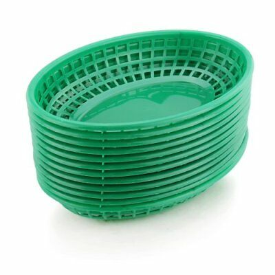 New Star Foodservice 44126 Fast Food Baskets 9.25 x 6 inch Oval Set of 12 Green