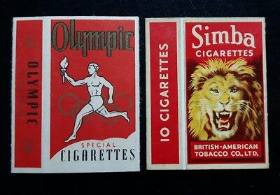 x 2 old hull cigarette packets Olympic special and Simba