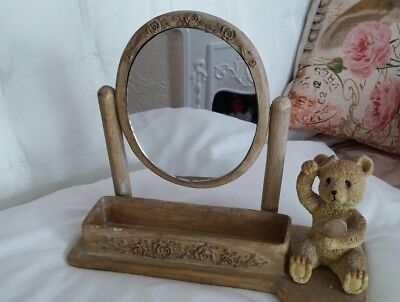 Small table top mirror with trinket compartment and teddy bear
