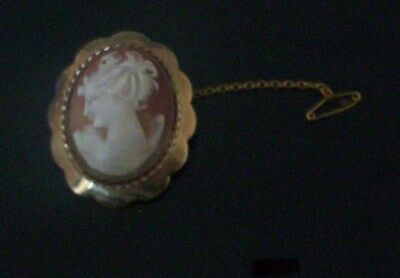 Lovely Rare Vintage Collectable 9Ct Gold Shell Cameo Brooch 7.7G By Sgw