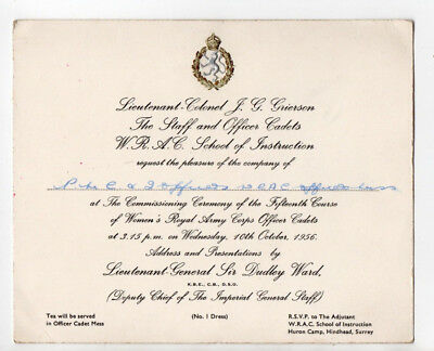 Military Dinner Invite RSVP Officers Womens Royal Army corps 1956