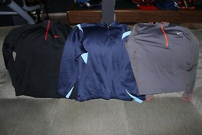 3 Mens Nike Golf Therma Fit long sleeve 1/2 Zip Size XL-Black,Gray+blue