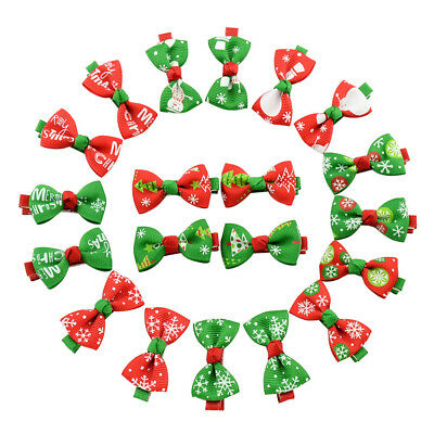 10X Kids Hair Clip Ribbon Bow Accessories Christmas Children Girl Holiday Gift
