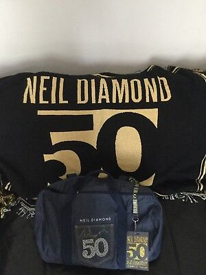 Neil Diamond 50th Anniversary VIP Denim Duffle Bag, Throw & Concert Programme.