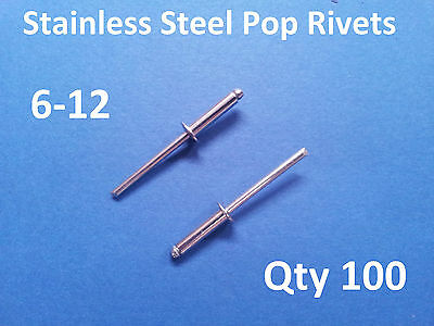 """100 POP RIVETS STAINLESS STEEL BLIND DOME 6-12 4.8mm x 23.5mm 3/16"""""""