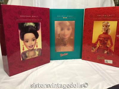 Barbie Lot of 3 Holiday Porcelain Collection - Holiday Gift Caroler and Ball