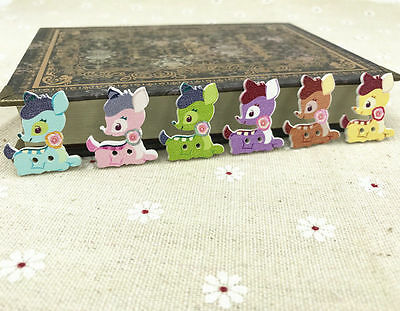 25X Mixed Deer wooden buttons sewing Scrapbooking decorations handicraft 28mm