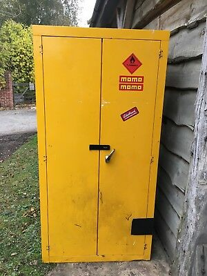 Two yellow safety chemical / hazardous industrial storage cabinets