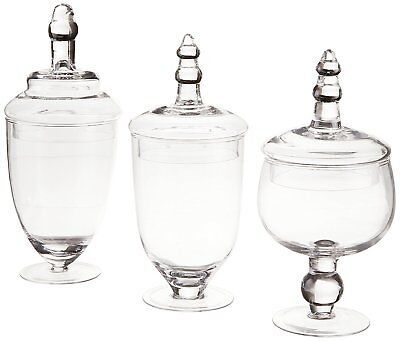 Glass Apothecary Jar Clear Canister Candy Vintage Lid Jars Storage Set 3 Large