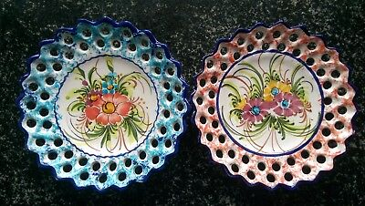(2) Vintage Hand-Painted Pottery 6.5'' Wall Plates Portugal 37