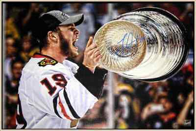 Jonathan Toews Blackhawks Signed Framed 20x29 Canvas Holding 2013 Stanley Cup