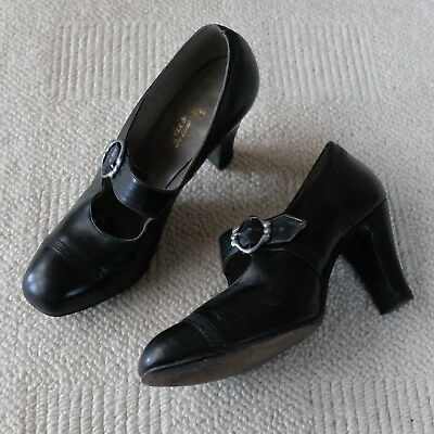 Genuine Vintage 1930s/1940s Size 6  Black Leather Mary Jane Style Shoes