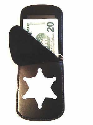 Badge Wallet 6 point Star Recessed Cut Out RFID Front Pocket Badge Wallet B-956