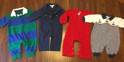 Lot Of 4 Baby Boy Sleepers Size 3-6 Months