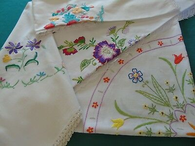 4 (FOUR) Hand Embroidered Tablecolths,3 lace edged,2 linen 2 cotton..VGC