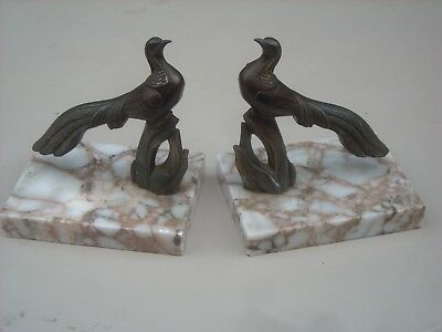 A Pair of Art Deco Vintage French Peacock Statues on Marble Bases / Bookends