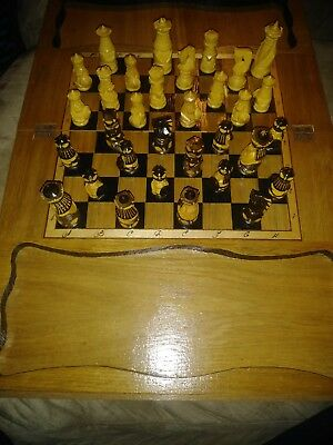 Wood Hand Carved Wood Inlay  Chess Set One Of A Kind
