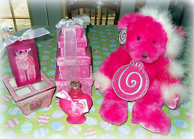 New Lot Of 9 Fuchsia Pink Christmas Collectibles Bears, Dish, Boxes, Bottle....