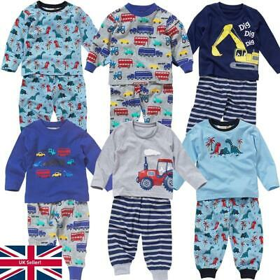 Lullaby Toddler Boys Pyjamas Cute Cars Truck Bus Tractor Print Long Sleeve 6-23
