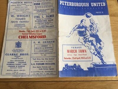 Peterborough United v March Town. ECL Cup Semi-Final. 1954/5.