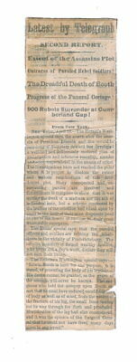 1865 News Clipping Plot Against Lincoln Seward Refuse E Booth Body Of J W Booth