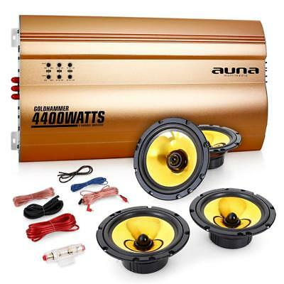Auna 4.0 Hifi Car Stereo Speaker System 4 Channel Amplifier Gold Plated Speakers
