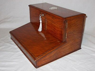Unusual Antique Victorian Tiger Oak Combination Stationery Writing Slope Box