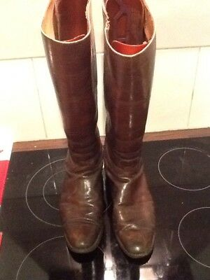 Pair Brown vintage  Leather Military Riding Boots